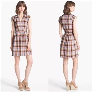 French Connection Pink/Peach Blue Plaid Dress 8